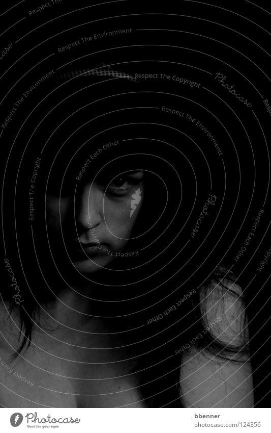 Woman Human being Black Face Eyes Dark Hair and hairstyles Power Force Shoulder Eerie Alluring