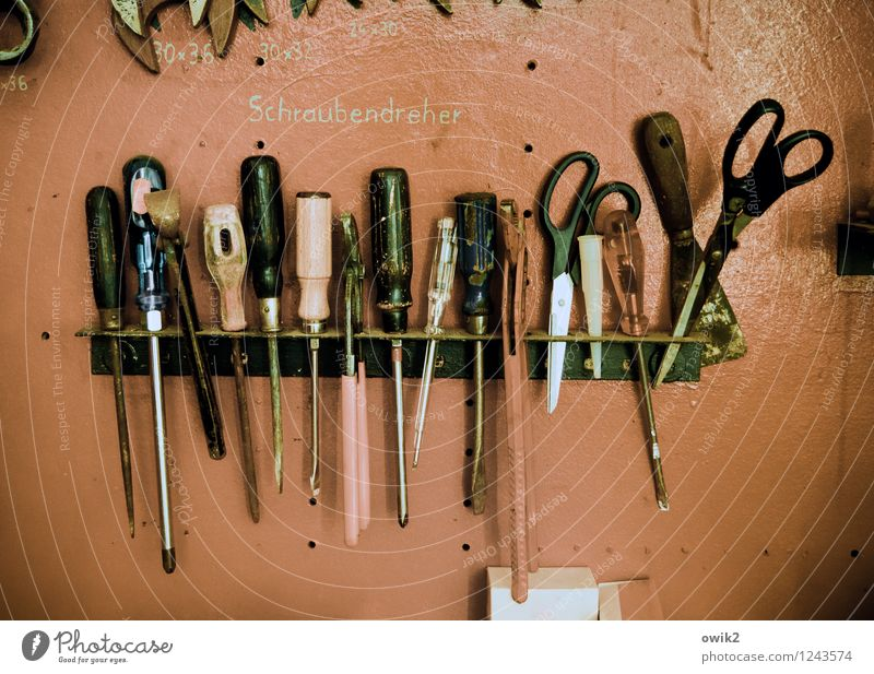 assortment Tool Screwdriver Scissors Selection Beaded Hang Many Orderliness Concentrate Services Workshop Colour photo Interior shot Close-up Detail Deserted