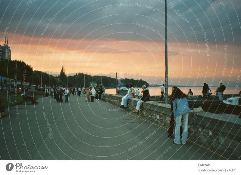 promenade Promenade Lake Geneva Wall (barrier) Water Coast Human being Street