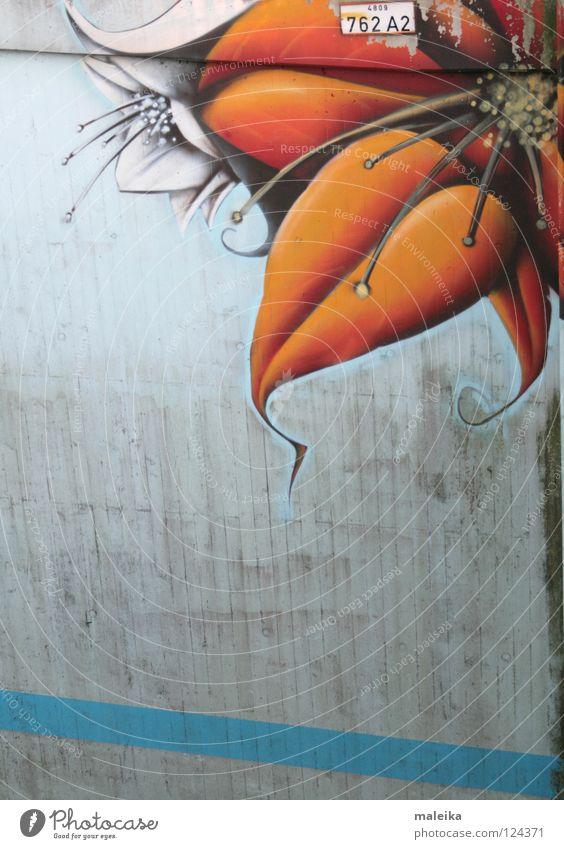 Wall (building) Blossom Graffiti Moody Orange Art Dirty Bridge Corner Friendliness Street art Swing Curlicue Arts and crafts  Mural painting