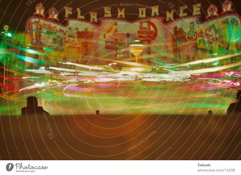 roller coaster Roller coaster Light Multicoloured Geneva Switzerland Long exposure Summer Neon light Fairs & Carnivals Joy Floodlight Light-sensitive Reflection