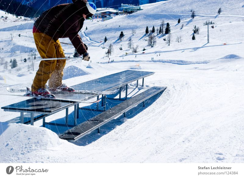 Tableslide II Fiss Ladis Austria Winter Shows Freestyle Leisure and hobbies Winter vacation Exterior shot Risk Reckless Federal State of Tyrol Panorama (View)