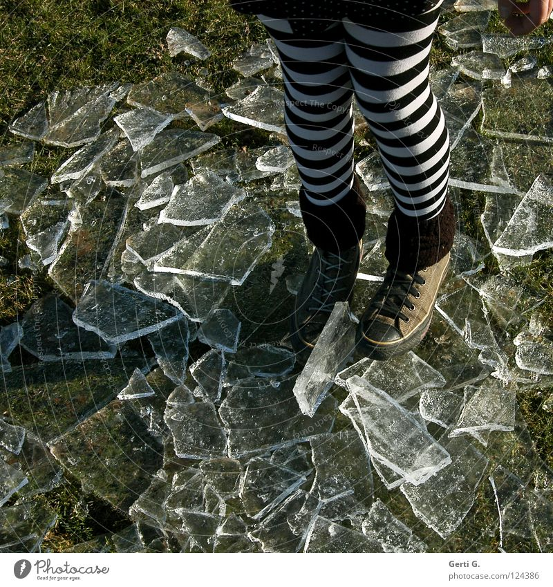 icebreaker Cold To break (something) Block Wet Frozen Ice Thaw Cocktail Mixture Tights Striped Hand Grass Meadow Chucks Cuffs or leggings Youth (Young adults)