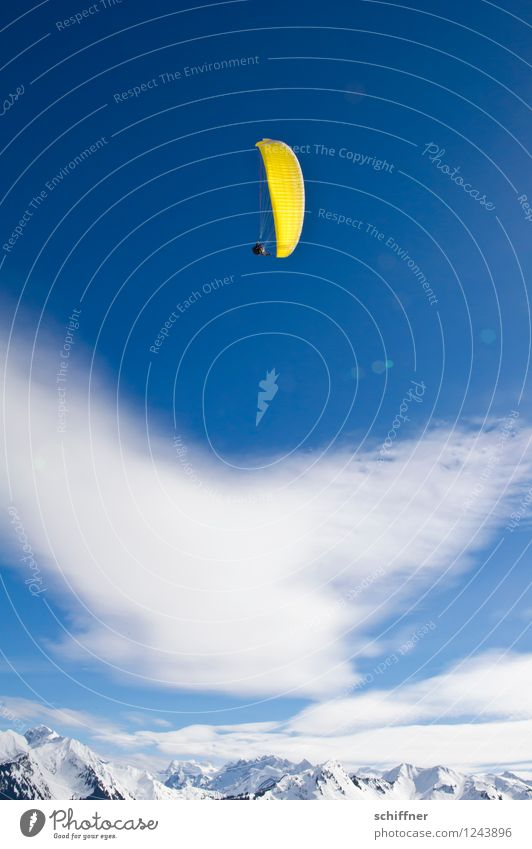 high and mighty Landscape Sky Clouds Beautiful weather Ice Frost Snow Rock Alps Mountain Peak Snowcapped peak Glacier Flying Paragliding Paraglider Yellow