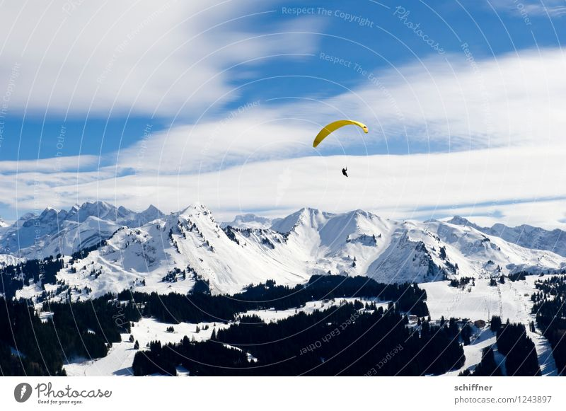 cold   Banana split Human being 1 Environment Nature Landscape Sky Clouds Beautiful weather Ice Frost Snow Rock Alps Mountain Peak Snowcapped peak Glacier Blue