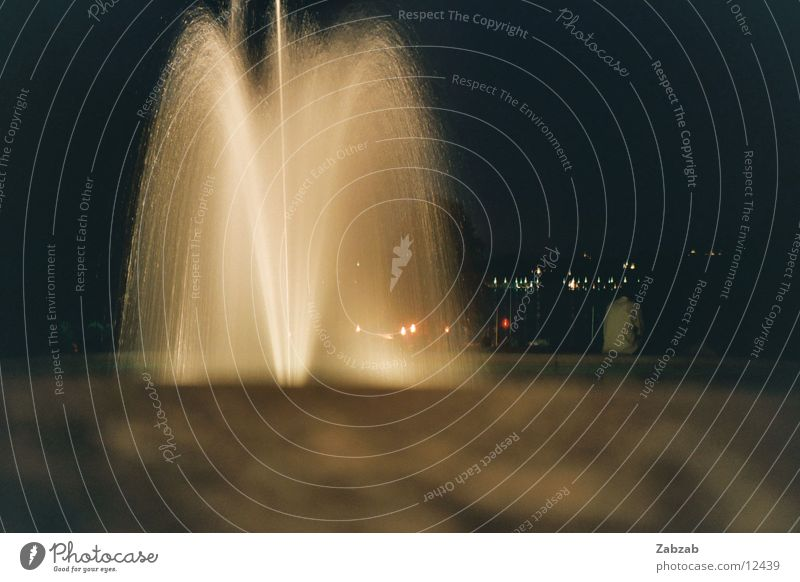 Fountain at night Well Light Geneva Night Switzerland Long exposure Physics Romance Garden Park Water Volcano Warmth