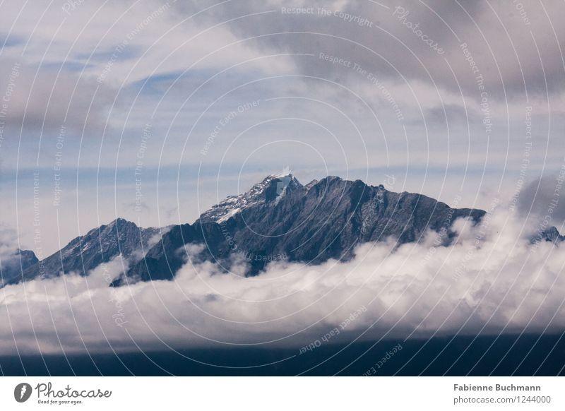 cloudcake spiral Nature Landscape Elements Sky Clouds Alps Mountain Peak Snowcapped peak Gigantic Tall Blue Gray White Karwendelgebirge Wall of rock