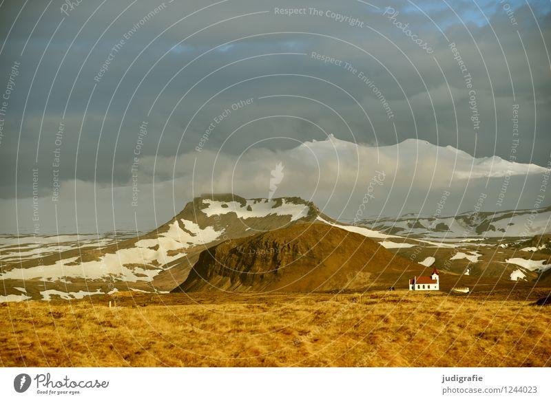 Iceland Environment Nature Landscape Elements Sky Clouds Climate Mountain Snowcapped peak Glacier Volcano Snæfellsnes Church Illuminate Exceptional Fantastic