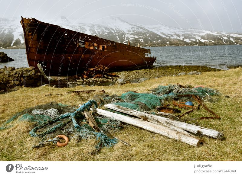 Iceland Environment Nature Landscape Climate Coast Fjord Ocean Djupavik Village Navigation Wreck Old Exceptional Cold Maritime Wild Moody Loneliness Past