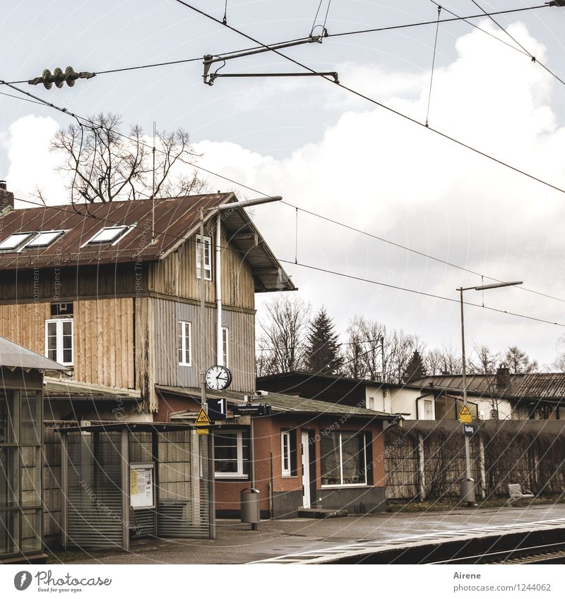 everyday romance Village Deserted House (Residential Structure) Train station Wait Historic Gloomy Brown Frustration Vacation & Travel Normal Shelter Platform