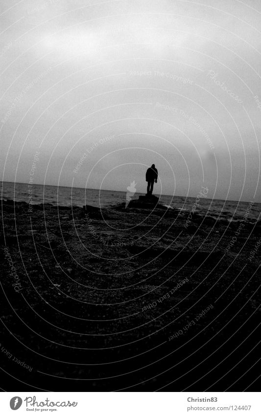 On his way... Ocean Man Loneliness Dark Longing Beach Clouds Cold Black & white photo Water Baltic Sea Lanes & trails Cover
