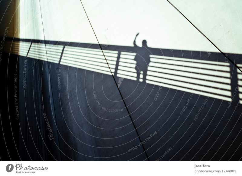 """hello Man Adults 1 Human being Bridge Wall (barrier) Wall (building) Observe Communicate Stand Wave """"balustrade,balustrade,bridge balustrade,silhouette,salute,"""""""
