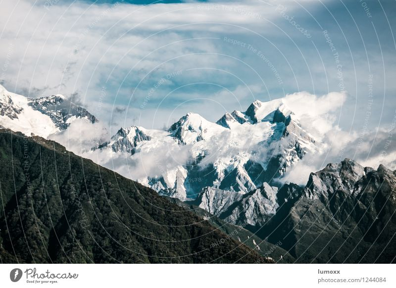 Sky Nature Blue Landscape Clouds Mountain Gray Rock Island Peak Glacier New Zealand Mount Cook
