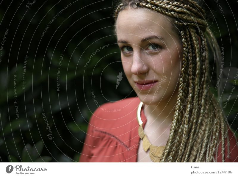. Feminine Woman Adults 1 Human being Park Shirt Jewellery Blonde Long-haired Dreadlocks Observe Think Looking Wait Beautiful Cool (slang) Brave Watchfulness