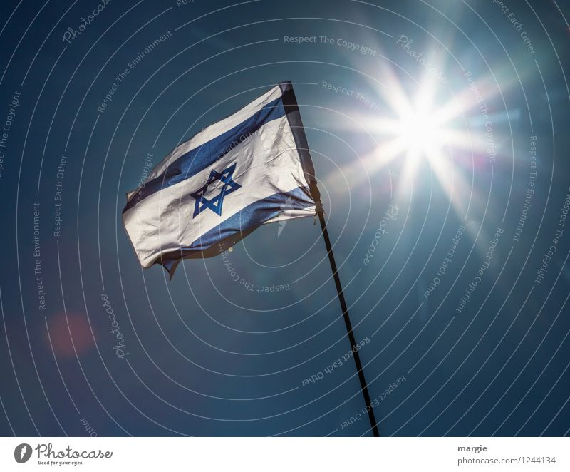 Shalom: the Israel - National - Flag in front of a bright sun Vacation & Travel Tourism Far-off places Freedom Summer Sun Culture Near and Middle East Landmark
