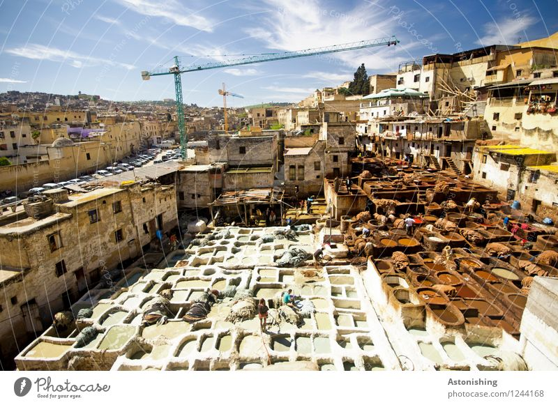 dyeing Workplace Sky Clouds Horizon Weather Beautiful weather Fez Morocco Africa Town Downtown House (Residential Structure) Hut Manmade structures Building
