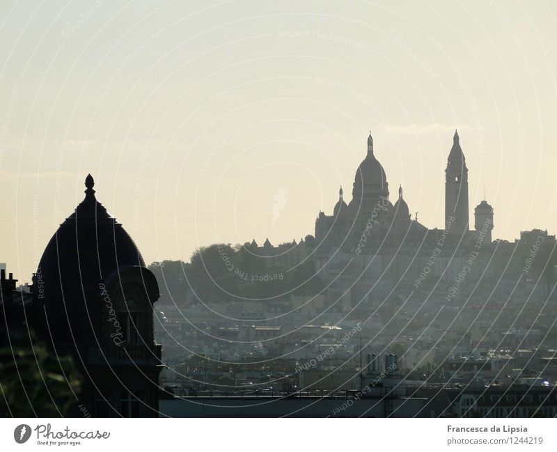 Silhouette of the Sacré Coeur City trip Architecture Cloudless sky Horizon Paris France Europe Capital city Downtown Deserted Church Manmade structures Building