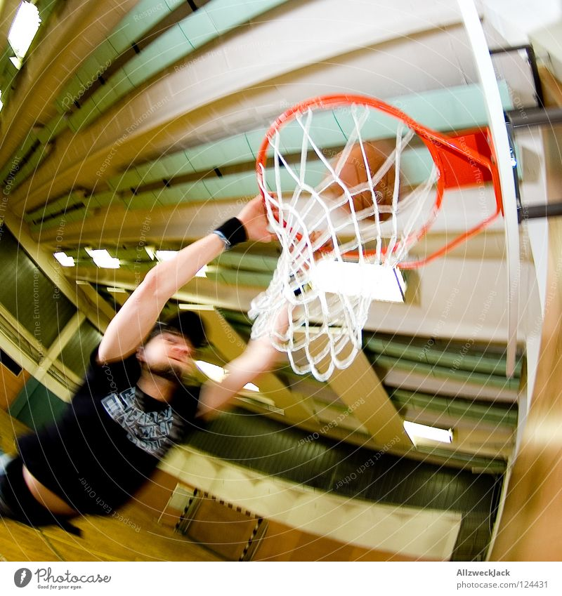 Slam! School sport Gymnasium Basketball basket Parquet floor Man Basketball player Jump Action Score Male preserve Loneliness Joy Sports Playing Ball sports