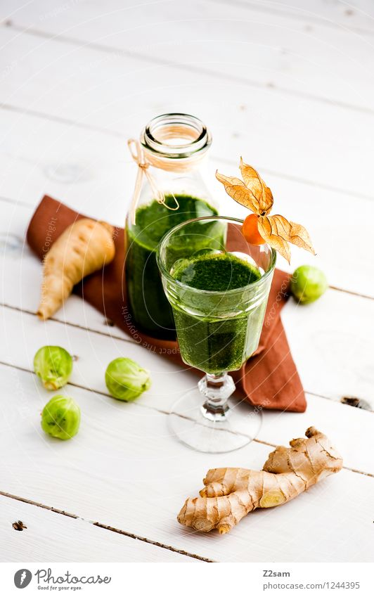 gsund Vegetable Fruit Herbs and spices Diet Slow food detox Beverage Milkshake Exotic Fluid Fresh Healthy Cold Sustainability Natural Green To enjoy Ginger