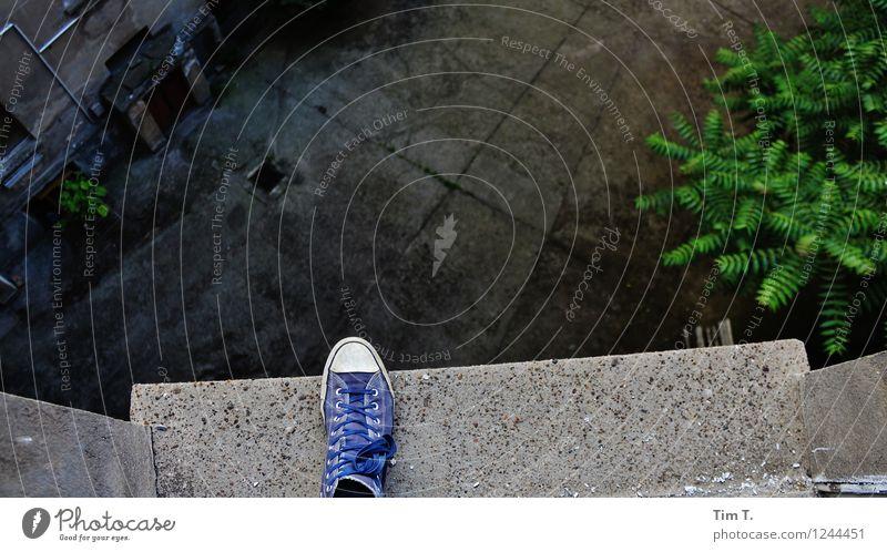 Human being Berlin Feet Fear Footwear Fear of heights Goodbye Backyard Suicide