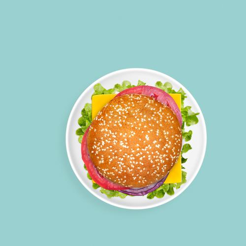 Sandwich on plain green background Cheese Vegetable Nutrition Lunch Dinner Fast food Plate Bright Juicy Green American burger Cheeseburger directly above fat