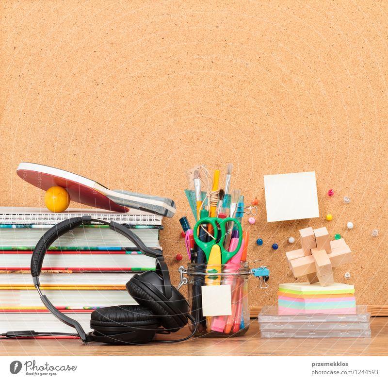School accessories on desktop Desk Study Workplace Headset Tool Scissors Book Pen Brown Education Blank brush Crayon empty Headphones jar Organize Paddle Pencil