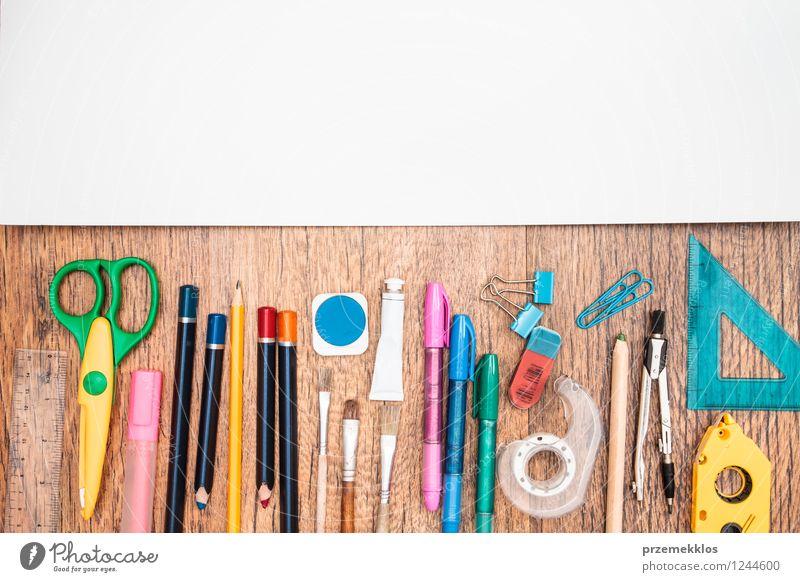 School accessories on a desk White Work and employment Office Study Paper Education Desk Pen Tool Workplace Piece of paper Pencil Object photography Scissors