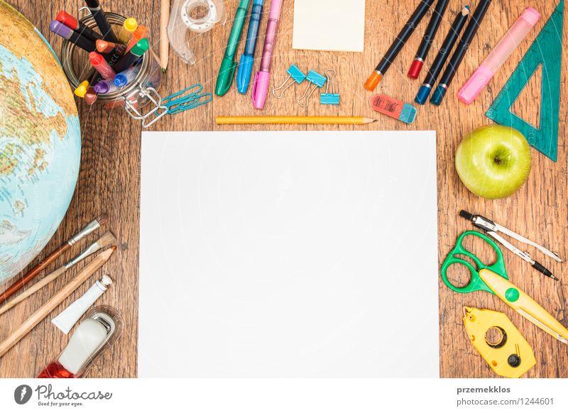 Ready to begin Fruit Apple Desk School Study Tool Scissors Paper Piece of paper Pen Globe Multicoloured White Education Blank compass Crayon desktop empty gear