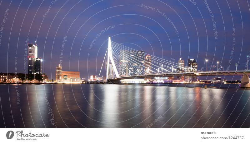 "Erasmus Bridge Rotterdam at night Tourism Sightseeing City trip Port City Downtown House (Residential Structure) High-rise Building Architecture ""Erasmus Bridge"