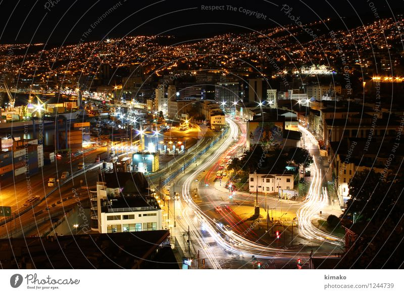 Valparalights City Street Architecture Movement Building Car Logistics Harbour Americas Traffic light Container Night life Crossroads Port City Road traffic