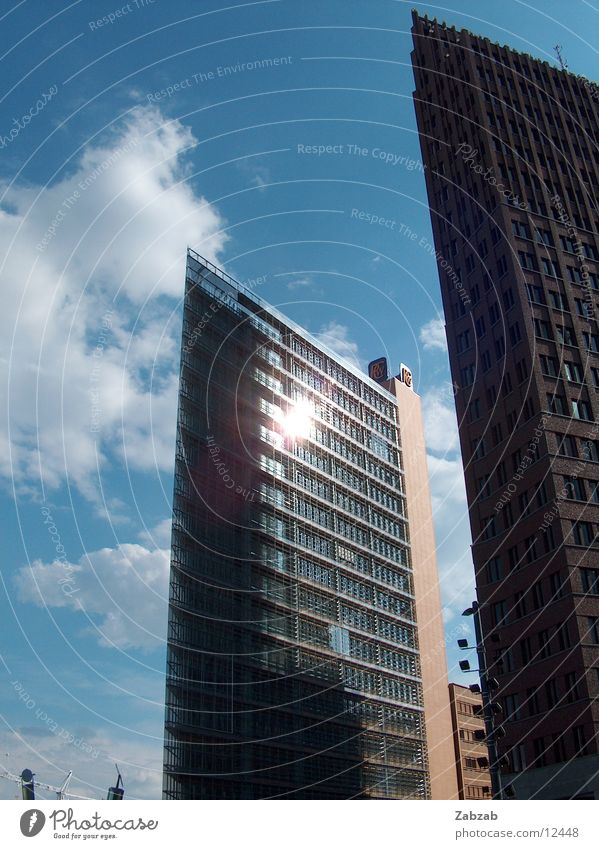 Sky City Sun Clouds House (Residential Structure) Window Berlin Building High-rise Modern New Construction site Manmade structures Middle Gastronomy