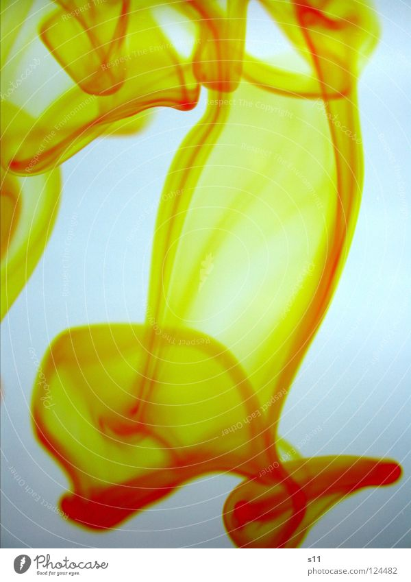Yellow In Water Fluid Wet White Colour Transience Flow Mix Food colouring Tracks yellow. yellow Multicoloured Light