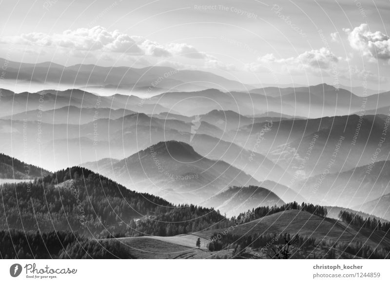 mountains Environment Nature Landscape Sky Clouds Horizon Autumn Fog Alps Mountain Peak Relaxation Flying Esthetic Black White Calm Exterior shot Deserted