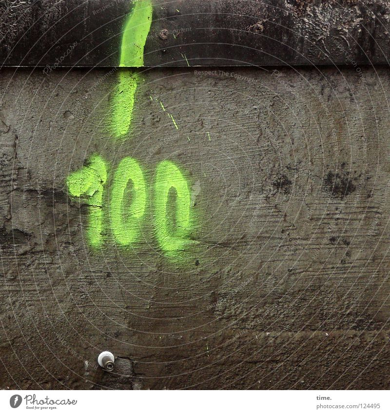 Green Graffiti Concrete Open Digits and numbers Signage Painting and drawing (object) Train station Watchfulness Furrow Flexible Neon light Screw
