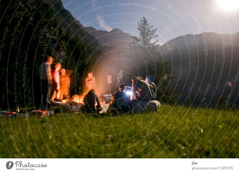 Bonfire 5 Contentment Relaxation Leisure and hobbies Freedom Mountain polterabend Masculine Friendship Youth (Young adults) Group 18 - 30 years Adults Nature