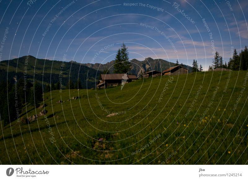 at night on the alp Calm Mountain Hut Alpine pasture alphabet Barn Landscape Night sky Beautiful weather Grass Meadow Alps sidewalk Saanenland Switzerland Sleep