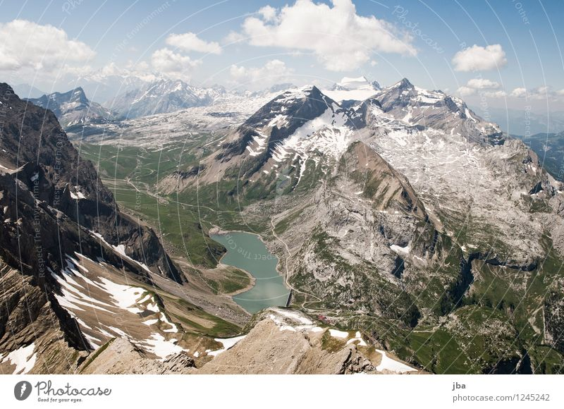 View to Sanetsch Relaxation Calm Trip Far-off places Summer Mountain Sports Paragliding Nature Landscape Elements Air Water Beautiful weather Rock Alps Peak