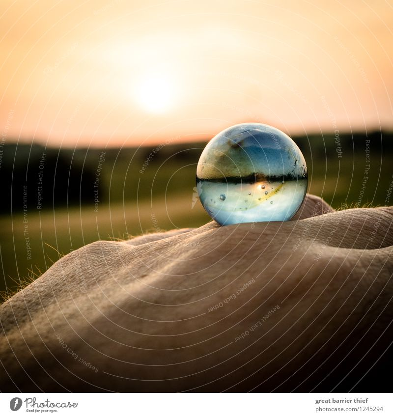 another world Masculine Hand Environment Nature Landscape Animal Sun Beautiful weather Glass Exceptional Blue Yellow Gold Red Contentment Sphere Colour photo