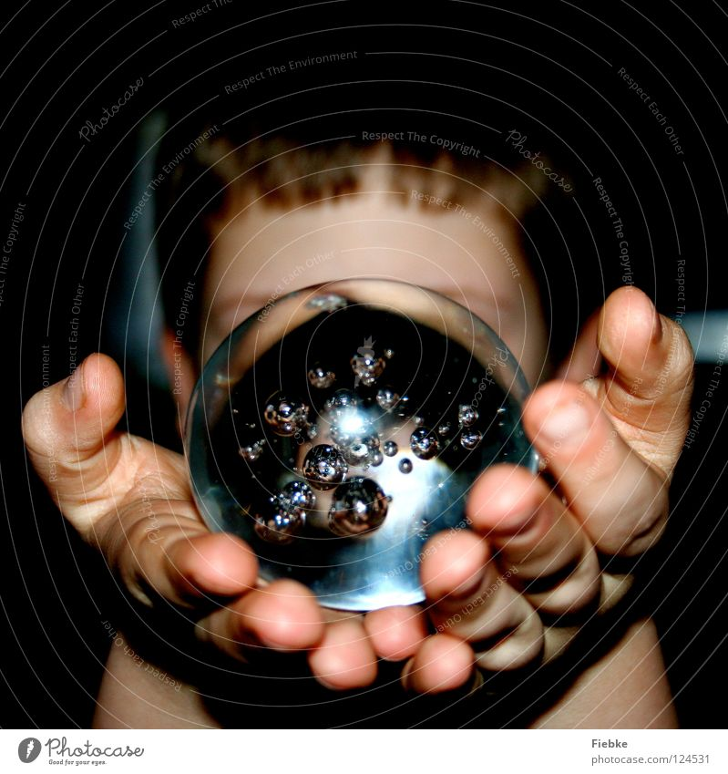 Looking to the future Sphere Round Heavy Fragile Transparent Bubble Air Small Hover Enclosed Glass Hand To hold on Children`s hand Fingers Fingernail