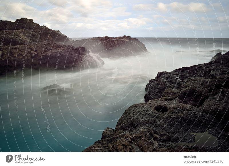 Sky Nature Blue Water White Ocean Landscape Clouds Environment Coast Brown Rock Horizon Wild Weather Waves