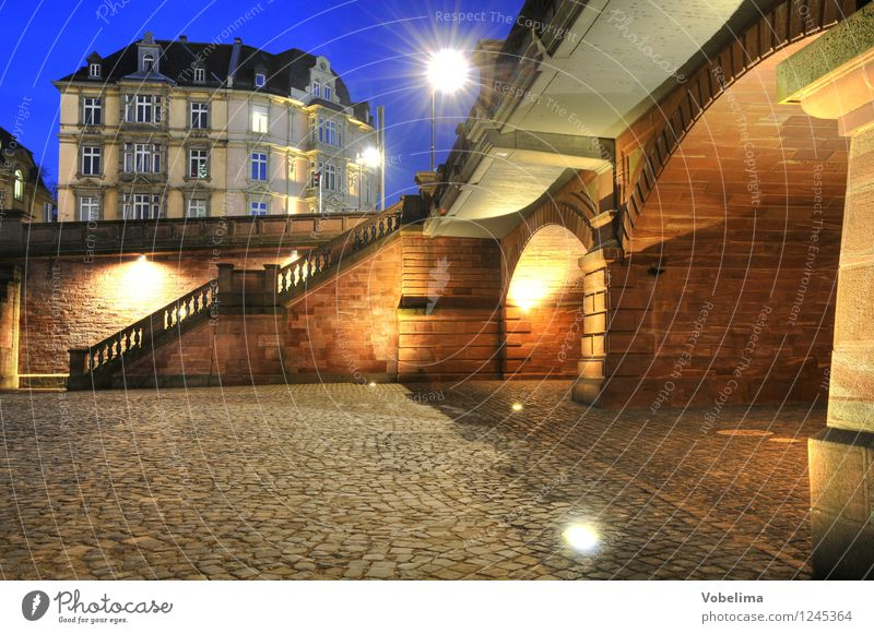 Evening in Frankfurt Town Old town House (Residential Structure) Bridge Building Architecture Wall (barrier) Wall (building) Stairs Facade Blue Brown Yellow