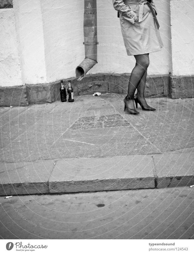 Human being Woman City Beautiful Adults Street Feminine Legs Elegant Stand Wait Corner Sidewalk Boredom Bottle Stockings