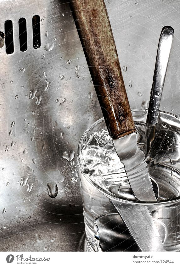 Water Old Wood Metal Glass Glittering Dirty Drops of water Corner Fluid Stalk Craft (trade) Silver Door handle Knives