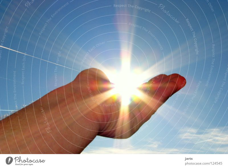 Sunbeam Hand Sky Blue Summer Warmth Bright Lighting Power Environment Nature Fingers Force Energy industry