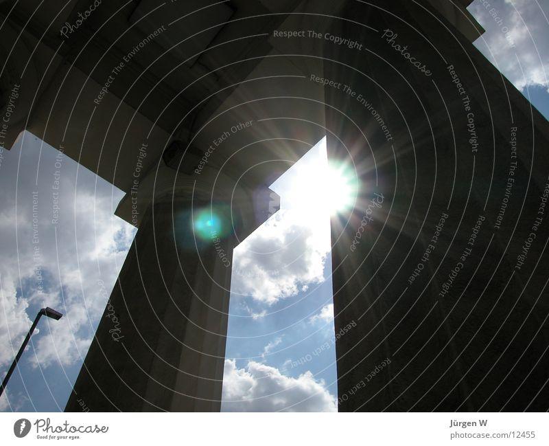 Sky Sun Clouds Architecture Gate Column Duesseldorf