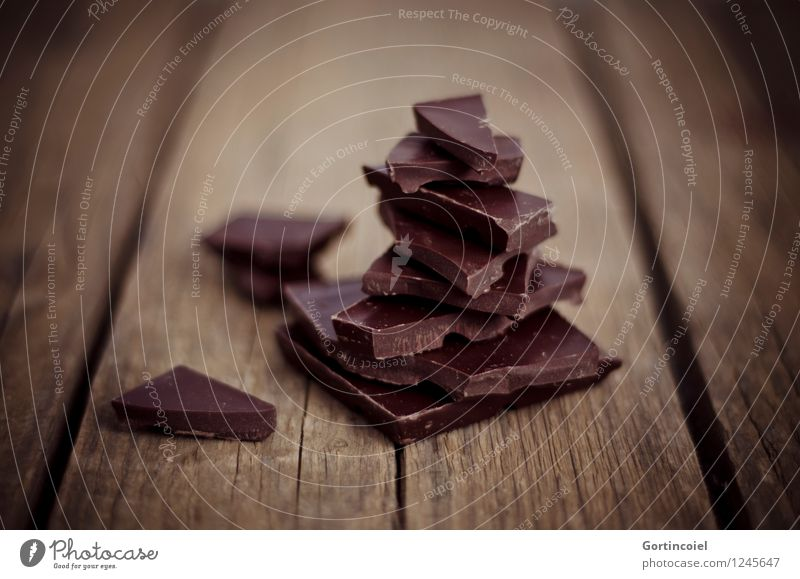 dark chocolate Food Candy Chocolate Nutrition Delicious Sweet Brown Wooden table Broken chocolate Chocolate brown Hot Chocolate Food photograph Colour photo