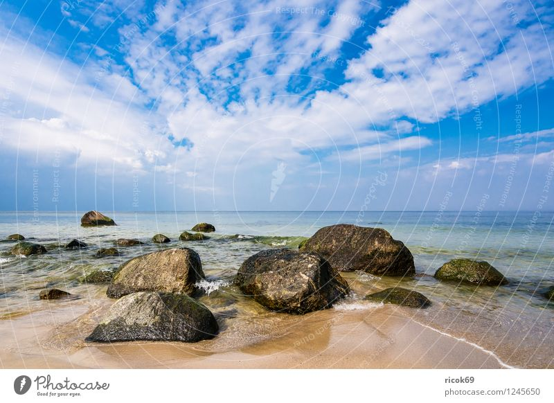Nature Vacation & Travel Relaxation Ocean Landscape Clouds Beach Coast Gray Stone Rock Idyll Beautiful weather Romance Baltic Sea Tourist Attraction