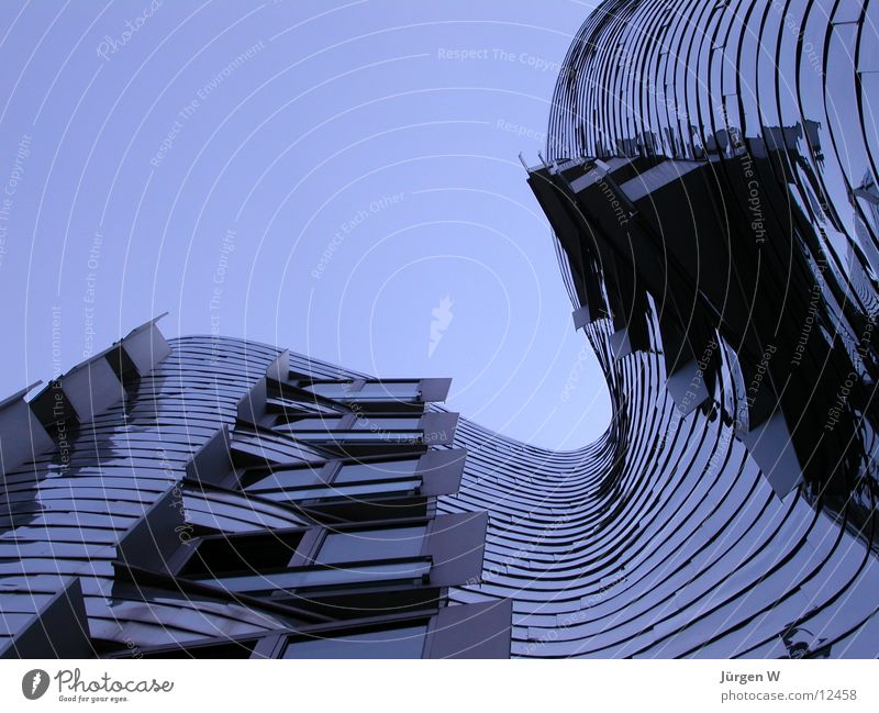Blue hour House (Residential Structure) Steel Zollhof Warped Sky Port Architecture Tall Duesseldorf Harbour Gehry buildings high bent Tilt