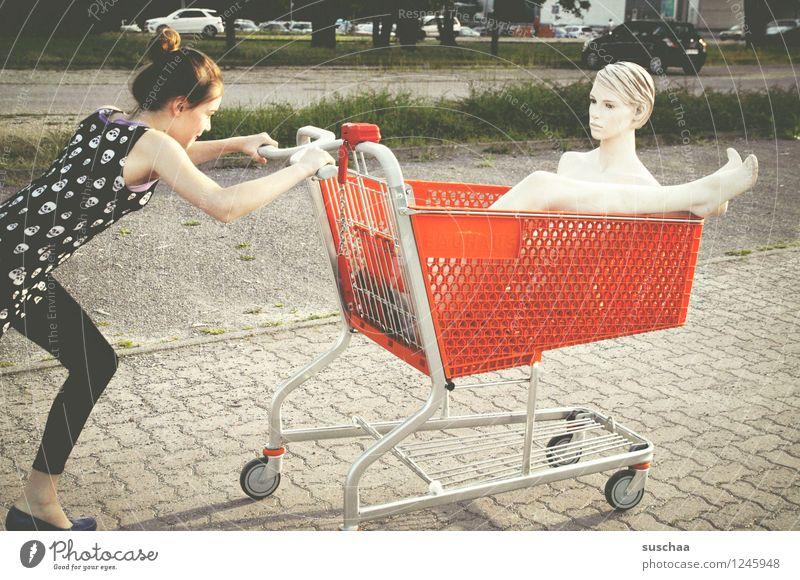 Child Girl Street Head Feet Shopping Running Parking lot Shopping Trolley Mannequin Push