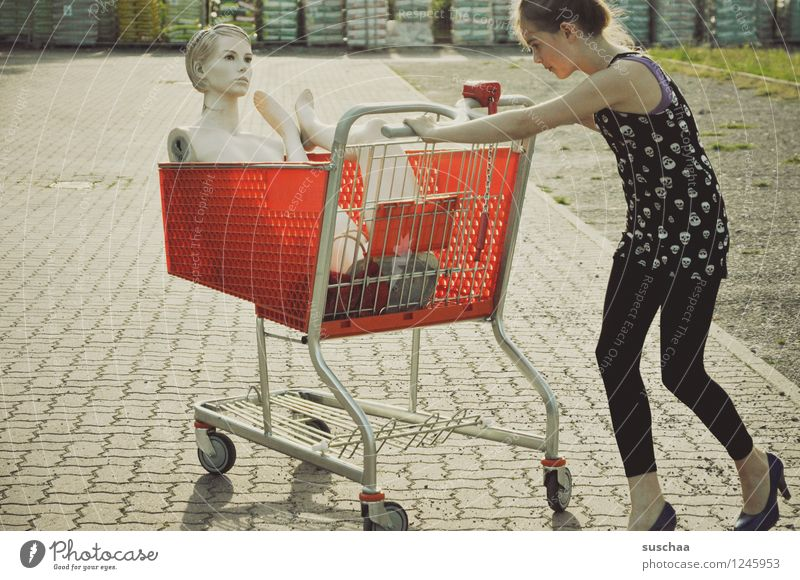 go shopping ..... Child Girl Young lady Youth (Young adults) Young woman Shopping Push Shopping Trolley Mannequin High heels Infancy Whimsical Strange